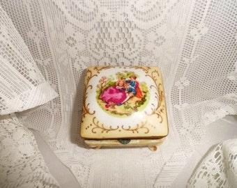 Porcelain Boudoir Jewelry Box-Trinket Casket-Vanity-Dresser Treasure Keeper-Legs-Hinged Lid-Courting Couple-Romance-Orphaned Treasure-020117
