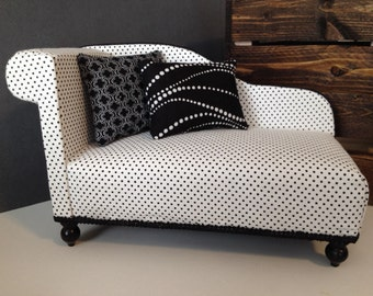 "Polka Dot Chaise Lounge for Dolls, Dollhouse furniture, 1:6 scale, 1/6 scale, 12"" dolls"