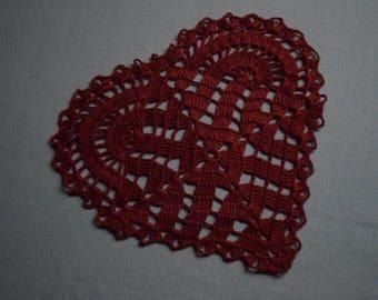 red lace doily, linen doily, red heart doily, crochet lace doily,