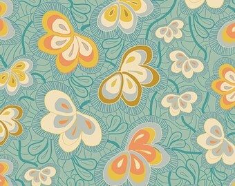 Art Gallery Magicflys Nest Spark Cotton Woven Fabric  Art Gallery butterfly fabric  firefly fabric Aqua fabric