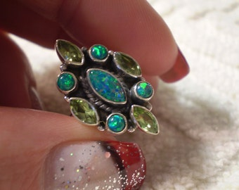 Opal (Natural) Peridot (Natural) 925 Antiqued Sterling Silver Size 8 Ring