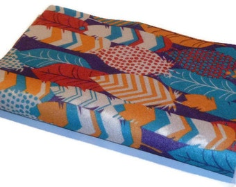 new felt fabric sheets native feather print red and blue