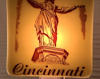 Cincinnati Ohio Fountain Square Fused Glass Night Light