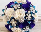 Paper Flower wedding bridal Bouquet peacock teal purple brooches