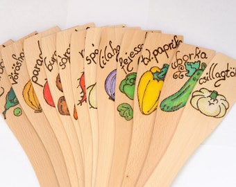 Custom Vegetable and Herb Row Markers Handmade Wooden Plant Marker wooden spoon