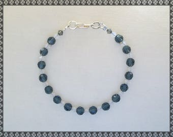 blue bracelet, dark blue bracelet, crystal bracelet, blue crystal, blue, denim blue