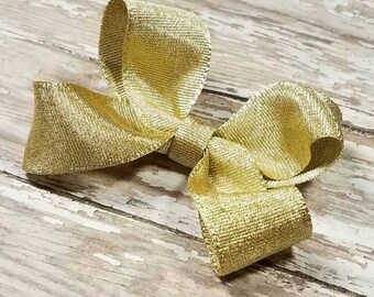 Small Gold Hairbow - Hair Bow Clip - Metalic Hairbows - Cute Baby Bows - Twisted Boutique Clips - Simple Girls Birthday Accessories - Shiny