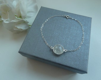 Sterling silver delicate chain bracelet with rainbow moonstone