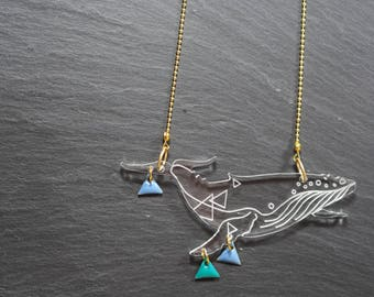 Necklace whale triangles, collection whales. Cut plexiglass engraved laser, taste buds enamelled metal and string ball.