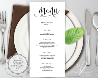 Wedding Menu card, PDF editable template, Instant Download Printable Card in rustic design theme (TED183_2)