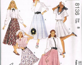 Size 8 Misses' Circle Skirt Sewing Pattern - Poodle Skirt Pattern - Long Skirt Sewing Pattern - Vintage McCalls 8136