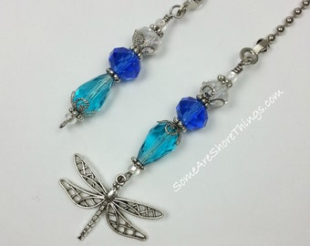 Dragonfly Charm Glass Beaded Ceiling Fan and Light Pull Chains.  Sold as a Single or Set.  Handmade.  Aqua and Blue Home Decoration.