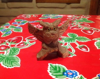Vintage hand carved wooden owl figurine with google eyes