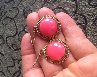 Raspberry Agate Dangle Earrings - Gold Pink Raspberry Agate Dangle Earrings - Vintage Pink Agate Dangle Earrings - Dangle Agate Earrings