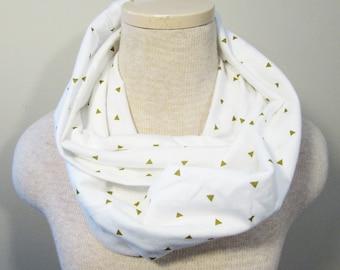 Chunky Infinity Scarf - Cream Triangle Scarf - Knit Scarf