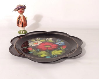 Vintage Small Metal Floral Tole Hand Painted Tray
