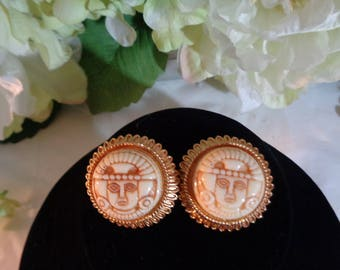 Orena Paris Carved Aztec Maya Egyptian Clip on Earrings Bride Bridesmaid Prom Party jewelrybybadabling