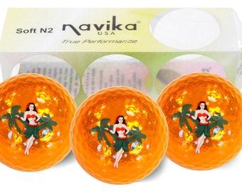 Hula Girl Imprinted Orange Metallic Golf Balls