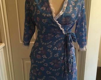 Vintage blue floral wraparound dress  size 12