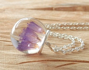 Real Flower Resin Necklace, Dried Flower Necklace, Dried Flower Resin Pendant