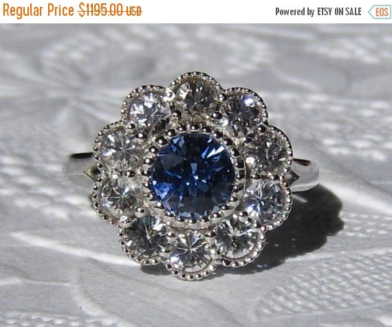HOLIDAY SALE... Blue Sapphire Engagement Ring By JuliaBJewelry