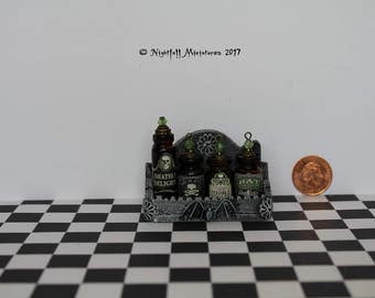 Dollhouse Miniature Magic Fantasy Witchy Spooky Shelf with Potion Bottles in 1:12 scale