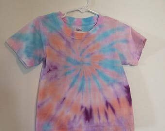 2T/3T toddler top pastel tie dye pink coral baby blue purple