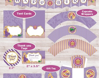Tangled Party Printable inspired, Tangled tent card, Tangled box, Rapunzel gift tag, Rapunzel printable Party Favors, Rapunzel water label.