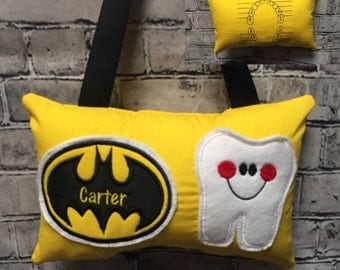 Tooth Fairy Pillow Boy or Girl Batman Yellow and Black Toothfairy