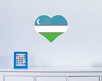 Heart Shaped National Flag of Uzbekistan Vinyl Wall Art