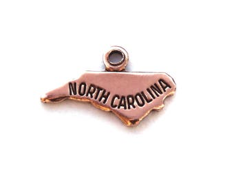 2x Rose Gold Plated Engraved North Carolina State Charms - M132-NC