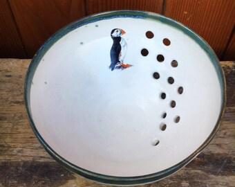 Puffin  knitting yarn bowl pottery stoneware