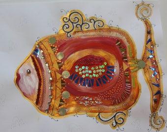 Flirty Fish Series, mixed media acrylic painting on paper