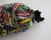 Plastic Bag Holder, plastic bag dispenser, grocery bag holder, ruffle, elastic openings, Marvel, Avengers, Comics