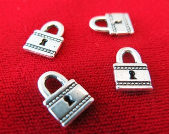 "10pc ""lock"" charms in antique silver (BC230)"