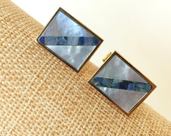 SALE Genuine Morher of Pearl and mosaic abalone cufflinks
