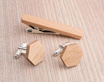 Wooden tie Clip Cufflinks Set Wedding Beech Hexagon Cufflinks. Wood Tie Clip Cufflinks Set. Mens Wood Cuff Links, Groomsmen Cufflinks set.