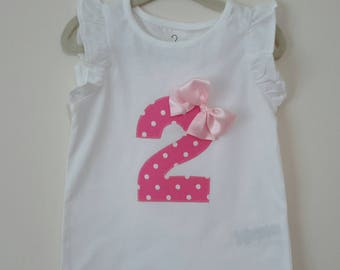 Girls 2nd Birthday t shirt, baby 2nd birthday, girls birthday top, 2nd birthday number shirt, pink dotty birthday top