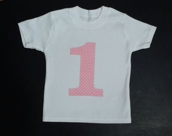 1st first Birthday girl t-shirt, Birthday top, Birthday t shirt. girls number shirt, 1st birthday top, number t-shirt, girls birthday