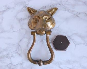 Brass Fox Door Knocker - Wolf Door Knocker - Vintage Brass Door Knocker With Pad