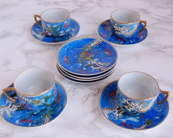 Japanese Dragonware Demitasse Cups Set - Porcelain Moriage Dragon Cups - Japanese Tea Set