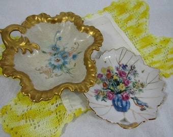 Vintage Hand Painted Plates Set of 2 Cottage Chic Home Decor Candy Trinket Serving
