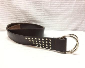 Large Brown Leather Belt, Studded Leather Belt, Boho Belt