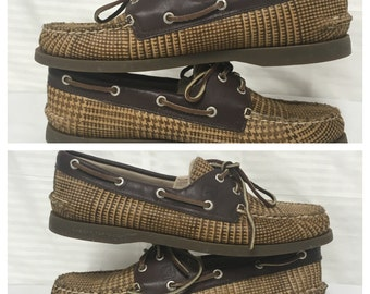 Sperry, top sider, shoes, size 9, brown, hounds tooth, leather, fur, loafers, 9