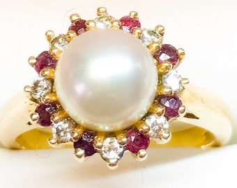 14k Pearl Ruby & Diamond Ring