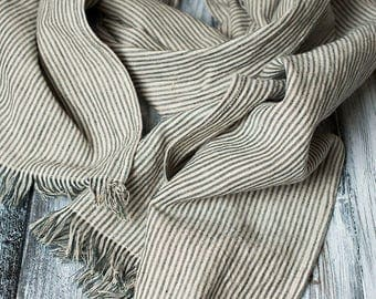 Linen Scarf Natural with Black Stripes