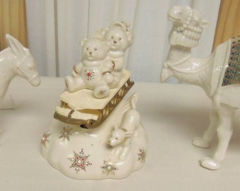 LENOX Nativity CHINA JEWELS Standing Camel Donkey & Musical Teddies on Sleigh Holiday Christmas Decor