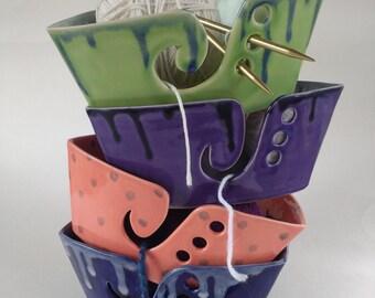 Yarn bowl, ceramic yarn bowl, pottery yarn bowl, knitting bowl, knitting gifts, purple bowl, green bowl, blue bowl, triangle bowl