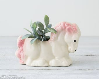 Vintage Horse Planter - Horse Flower Pot - Ceramic Planter - Air Plant Pot Pony - Baby Room Decor