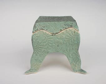 Ceramic box with feet,light matte turquoise, slab built, white stoneware, handmade pottery